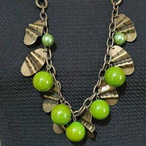 J. Jill Bronze Tone & Green Beads Necklace